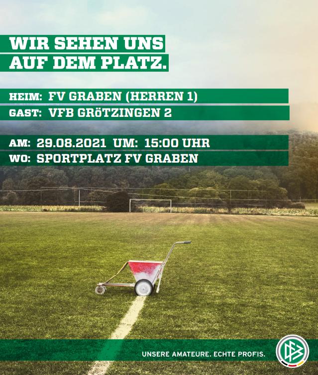 Das Bild zeigt die Spieltagankündigung FV Graben vs. VfB Grötzingen 2.